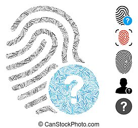 ligne, statut, icône, collage, empreinte doigt