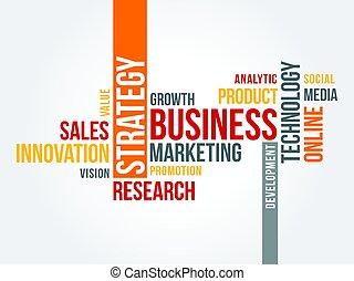 ligne, stratégie, mot, nuage, commercialisation