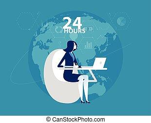 ligne, style., fonctionnement, conception, plat, service., hours., service, 24, femme affaires, client