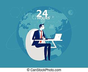ligne, style., fonctionnement, conception, service., hours., service, homme affaires, 24, plat, client
