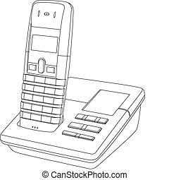 ligne, téléphone, dessin