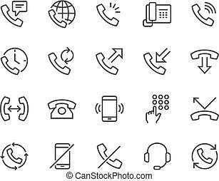 ligne téléphonique, icônes