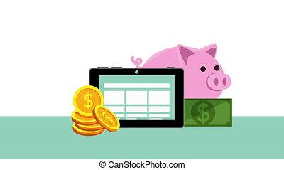 ligne, tablette, finances, économie