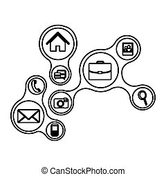 ligne, technologie, service, icônes