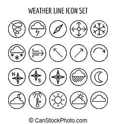 ligne, temps, ensemble, icône