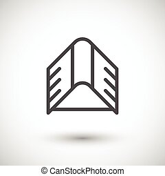 ligne, toit, icône