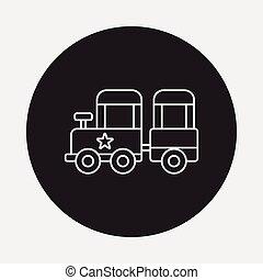 ligne, train, parc, amusement, icône