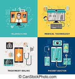 ligne, traitement, monde médical