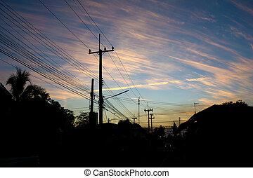ligne transmission, coucher soleil, puissance