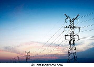 ligne transmission, coucher soleil, pylône, puissance