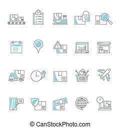 ligne, transport, logistique, expédition, icônes, cargaison