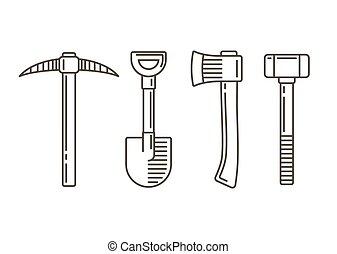 ligne, travail, outils, icônes