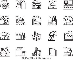 ligne, usines, icônes