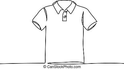 ligne vêtements, t-shirt, illustration, une, continu, ...