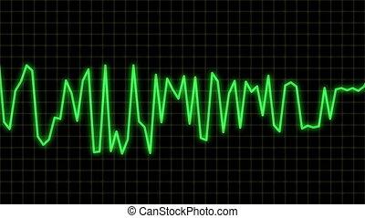 ligne, vague, bleu, audio
