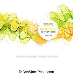 ligne, vague, vert, conception, orange