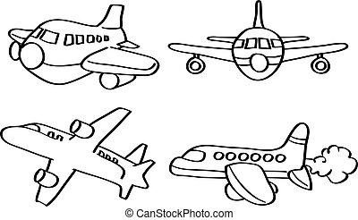 ligne, vecteur, art, illustration, avion, dessin animé