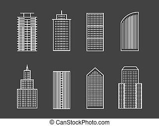 ligne, vecteur, bâtiments