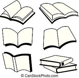 ligne, vecteur, conception, livre, icône