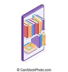 ligne, vecteur, illustration., étagères, lecture, grand, smartphone., education, debout, livres, isométrique