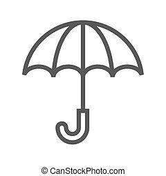 ligne, vecteur, parapluie, mince, icône