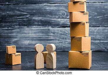 ligne, vente, parlez commercial, boxes., vente au détail, gens, distribution., livraison, tour, transport, affaire, commerce, goods., shopping., carton, concept, services
