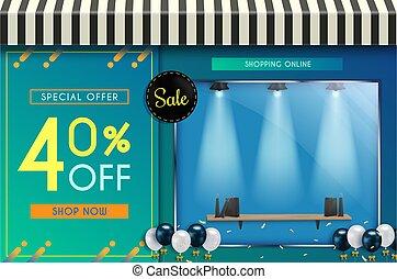 ligne, ventes, achats, website., affiches, conception