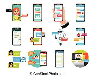 ligne, vidéo, messager, bavarder, sur, smartphone, ordinateur portable, et, informatique, vecteur, illustration, set.