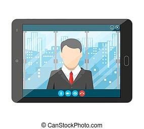 ligne, vidéo, réunion, internet, appeler, conference.