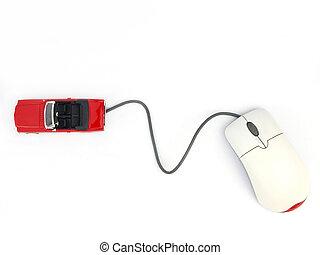 ligne, voiture, internet
