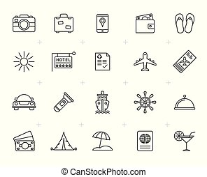 ligne, voyage, tourisme, voyage, icônes