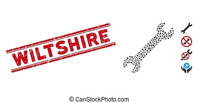 ligne, wiltshire, collage, clé, cachet, grunge, icône