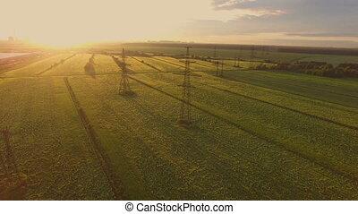 lignes, aérien, paysage, puissance, vue