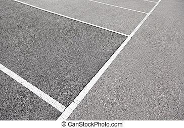 lignes, asphalte, stationnement