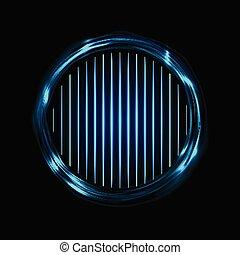 lignes bleu, néon, résumé, incandescent, électrique, fond, anneaux