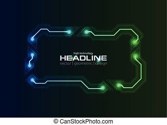 lignes, cadre, néon, incandescent, planche, circuit