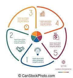 lignes, cercle, infographic, cinq, positions