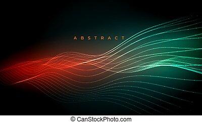 lignes, conception, numérique, ondulé, incandescent, fond, résumé