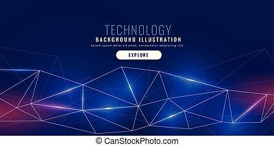lignes, connexion, bannière, réseau, technologie