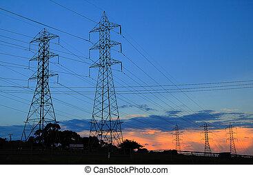 lignes, coucher soleil, pouvoir électrique