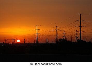 lignes, coucher soleil, puissance