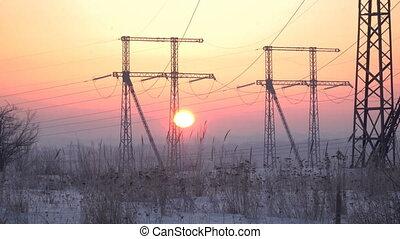 lignes, levers de soleil, puissance