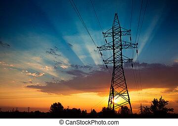lignes, puissance, levers de soleil