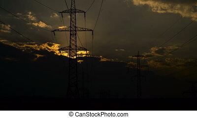lignes, sunrise., puissance, a haute tension