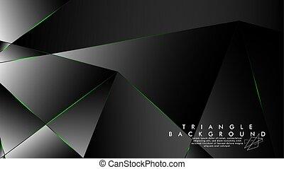 lignes, triangle vert, fond, luxueux, motifs, résumé, géométrique, polygone