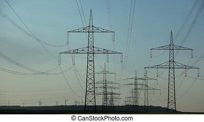 lignes, turbines, puissance, vent