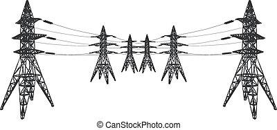 lignes, vecteur, silhouette, puissance