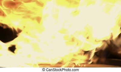 Fire Isolated on Black Background. - Ligniting Fire Isolated...