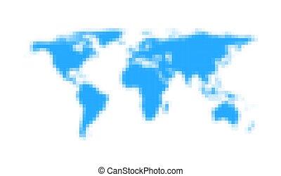 Lignt blue world map pixelated icon.