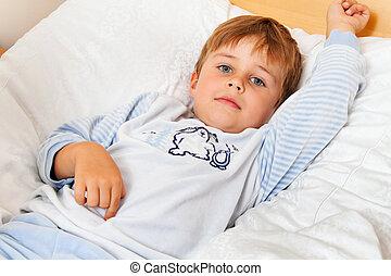 ligt, slaapkamer, bed, kind